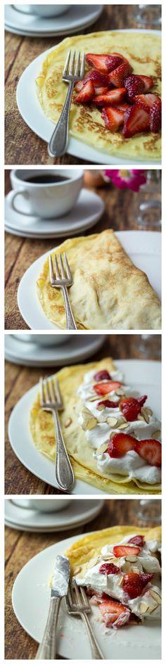 Homemade Swedish Pancakes with Strawberries