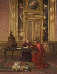 Georges Croegaert (1848–1923) - Cardinals at Leisure.  Wigan Arts and Heritage Service