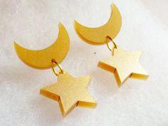 Sailor Moon Earrings: CRESCENT & STAR Metallic Gold Laser Cut Acrylic Sailor Moon Crescent Moon and Star Earrings
