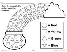 FREE Printable St. Patrick's Day Shapes Worksheet! Shapes worksheets like this are great for preschoolers and kindergartners to practice shape recognition, color recognition, fine motor skills, and more! Includes two shapes coloring pages. Get both shapes coloring worksheets here --> https://www.mpmschoolsupplies.com/ideas/7924/free-printable-st-patricks-day-color-the-shapes-worksheet/