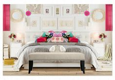 white bedroom, pops of color, low headboard, bench at the end of the bed