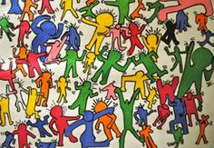 """5th Grade students create Keith Haring's """"Dance Series"""" (great lesson plans on this site)"""