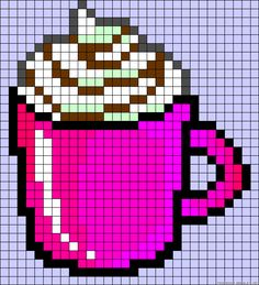 Mug chocolate drink perler bead pattern