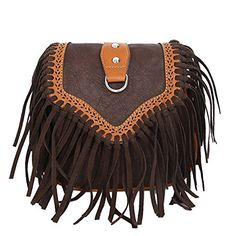 Cfanny Womens Small Vintage Messenger Fringe Saddle Purse Crossbody BagCoffee ** You can get additional details at the image link.