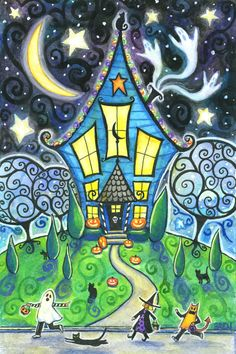 The Halloween House - 6x9 print - by Brenna White - ghosts black cat  moon stars fall autumn halloween