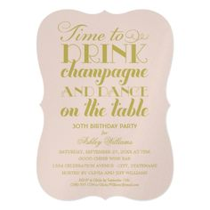 Party Invitations   Time to Drink Champagne