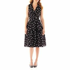 Jessica Howard Sleeve Less Notch Collar Dot Shirt Dress - JCPenney
