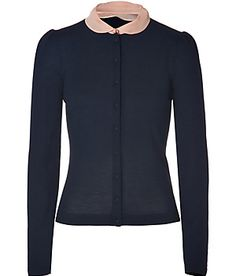 Not White!... but Valentino Cashmere cardigan with detachable collar xx