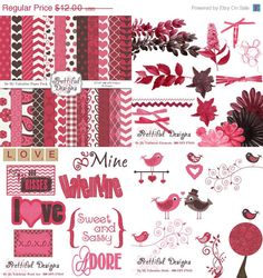 Be My Valentine Kit 1 with real flowers elements, word art, kissing birds and papers. :)