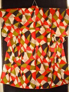 Vintage Japanese Mid Century Meisen Silk Kimono - Abstract Modern - Good.