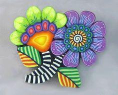 Kim Korringa Flower Power Pin using Cane Slices