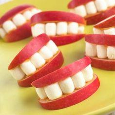 Halloween teeth! mini marshmallows with peanut butter and apple slices