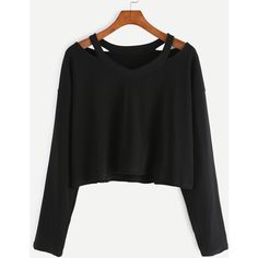 Cut Out Neck Long Sleeve T-shirt (€6,48) ❤ liked on Polyvore featuring tops, t-shirts, shirts, sweaters, black, crop tops, long-sleeve crop tops, cut out t shirt, stretchy t shirts and long sleeve tees