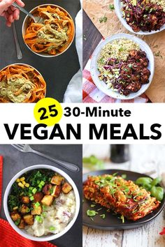Sure, you can spend hours creating elaborate, vegan dinners, but you don't have to. These vegan meals are perfect for busy weeknights when you want something delicious, but cooking isn't your top priority. Vegan Recipes Easy, Veggie Recipes, Whole Food Recipes, Vegetarian Recipes, Dinner Recipes, Cooking Recipes, Cheap Clean Eating, Clean Eating Snacks, Healthy Eating