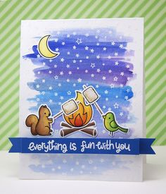 Lawn Fawn - Love You S'more + coordinating dies, Starry Backdrops _ adorable card by Yainea: Everything is fun with you