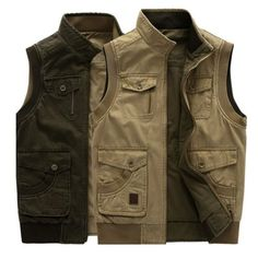 Mens Big Size Casual Outdoor Washed Double Sided Wear Multi Functions Vest at Banggood Chaleco Casual, Denim Vest Men, Men's Denim, Military Vest, Denim Cotton, Cotton Vest, Sleeveless Jacket, Vest Jacket, Field Jacket