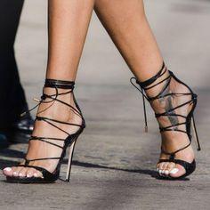 Straps Ankle Wraps Open Toe Back Zipper Stiletto High Heels Sandals
