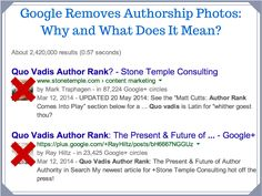 Why did Google Remove Author Photos and What does it mean? @MarkTraphagen  #StoneTemple #google