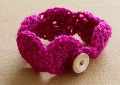 Pink Sparkle Crochet Bracelet