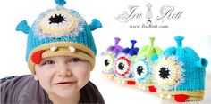 Handmade knit & crochet one eye alien monster hat for newborn to kid sizes.    The perfect hat for your little monster, alien, or beastie.    SIZE :  From newborn to kids    Colors: Light purple, Light blue, light green, dark Blue  $ 30.00 CAD