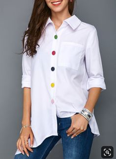 Irregular Thin Women Office Lady Shirt Top Plus Size Colorful Button White Long Sleeve Feminine Blouses Tops Summer Lady Shirts Trendy Tops For Women, Blouses For Women, White Long Sleeve, Blouse Designs, Fashion Outfits, Fashion Fashion, Pullover, Clothes, Boutique Shop