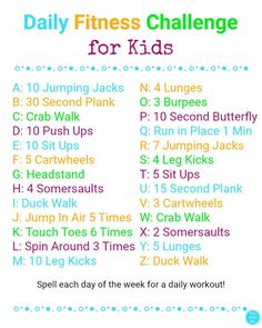 day of the week workout Plan ahead for those school breaks with ideas on winter fun for mind, body, and soul to keep kids active + printable Daily Fitness Challenge for Kids! Physical Activities For Kids, Toddler Activities, Learning Activities, Fitness Activities, Kids Activity Ideas, Nanny Activities, Movement Activities, Educational Activities For Kids, Educational Leadership