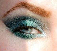 Teal glitter eye shadow