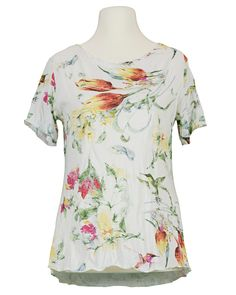 Damen Crash Shirt floral, weiss von Spaziodonna | meinkleidchen Damenmode aus Italien Shirts & Tops, Floral Tops, Women, Fashion, Sequins, Italy, Fashion Women, Breien, Cotton