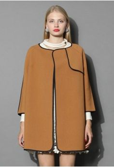 Stylin' Attraction Tan Coat with Contrast Piping - Outers - Retro, Indie and Unique Fashion