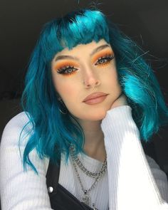 Preferred Hair Blue Hair Wig of Human Hair with Baby Hair Brazilian Lace Front Wig Short Bob Wigs for Women Hair Color Blue, Cool Hair Color, Green Hair, Purple Hair, Baby Blue Hair, Turquoise Hair Color, Short Teal Hair, Punk Hair Color, Bright Blue Hair