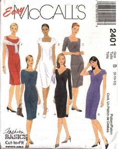 McCall's Sewing Pattern 2401 M2401 Misses Size 8-10-12 Easy Classic Sheath Straight Dresses   McCall's+Sewing+Pattern+2401+M2401+Misses+Size+8-10-12+Easy+Classic+Sheath+Straight+Dresses