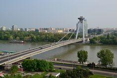 Bridge of the Slovak National Uprising ( Most SNP ), Danube river, Bratislava, Slovakia
