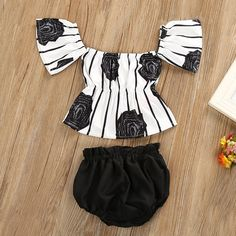 Off The Shoulder Rose Print Striped Outfit Baby Girl Pants, Cute Baby Girl Outfits, Baby Outfits Newborn, Toddler Outfits, Kids Outfits, Cute Outfits, Toddler Pants, Toddler Girls, Fashion Kids