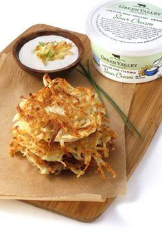 Recipe:  Holiday Red Onion and Potato Latkes with Cinnamon Apple Sour Cream