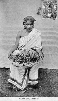 "Africa   ""Native girl"".  Zanzibar    Vintage postcard; publisher Ali Pira Harji"