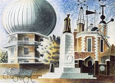 Greenwich Observatory by Eric Ravilious c unused London Transport poster design Anton, A4 Poster, Poster Prints, Posters, London Transport Museum, Most Popular Artists, English Artists, British Artists, Astronomy