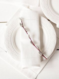 White linen napkins with hemstitch Cloth napkins linen set