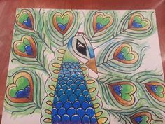 India Crafts for Kids: Peacock - step by step drawing and oil pastels