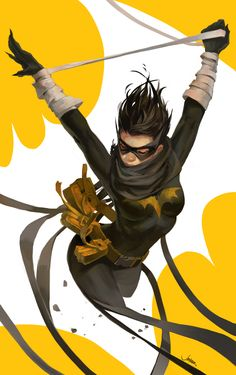 Beautiful Black Bat/Cassandra Cain fan art by JenZee. I love the movement in this.