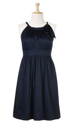 eShakti - Cotton poplin dress is fashioned with a pleated neckline and cutaway shoulders.  A wide band emphasizes the natural waist.
