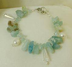 Bracelet Aquamarine Pearl Swarovski Gemstone by LindyLeeTreasures #Christmas #Gifts #Pearls