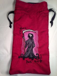 Handmade Drawstring Tarot Card Bag - DEATH