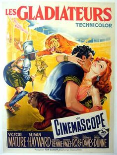 DEMETRIUS AND THE GLADIATORS (1954) - Victor Mature - Susan Hayward - Michael Rennie - Debra Paget - Anne Bancroft - Jay Robinson - Written by Philip Dunne - Directed by Delmer Daves - 20th Century-Fox - French Movie Poster.