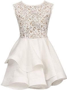 Lace Meringue Dress: Features a picture-perfect duo fabric design with delicate lace upper portion, flouncy layered solid white skirt for endless twirling, and a centered rear zip closure to finish.