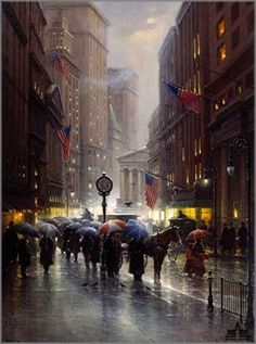 Canyon of Dreams Wall Street fine art serigraph or AP by G. Harvey at Art Link Index Wall Street, Street Art, G Harvey, Umbrella Art, Parasols, Walking In The Rain, Dream Wall, Fine Art, Western Art
