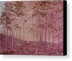 Woodland Canvas Print by Faye Anastasopoulou. All canvas prints are professionally printed, assembled, and shipped within 3 - 4 business days and delivered ready-to-hang on your wall. Choose from multiple print sizes, border colors, and canvas materials. Monochromatic Paintings, Pink Forest, Canvas Art, Canvas Prints, Forest Painting, Art For Sale Online, Romantic Mood, Thing 1, Artwork Images