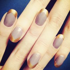 Six Fresh Takes on the French Manicure by Jin Soon Choi: A pretty blush-colored base, a blinged-out asymmetrical tip.  CND Copper Chrome over a base of Kure Bazaar Chloe
