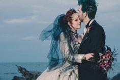Victorian Goth Wedding on a Deserted Beach: Katie & Eric