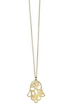 """Gold Good Fortune Hamsa Pendant. 14K Gold. 16"""" Spring clasp. Handcrafted in New York.åÊ Perfect for wearing by itself or layer with additional necklaces to elevate any outfit.The Hamsa is a symbol of protection and look closely for additional good luck symbols! Good Luck Symbols, Mini Hands, Good Fortune, Hand Of Fatima, Hamsa, Gold Pendant, Gold Necklace, Necklaces, York"""