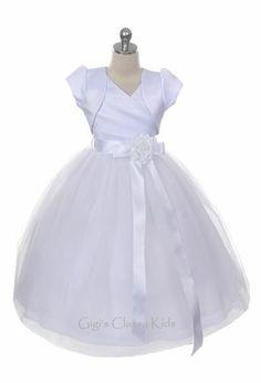 New White Flower Girls Dress with Bolero First Communion Party Christmas MK306